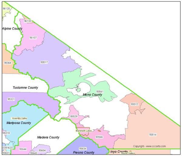 Mammoth Lakes Zip Code Map Mono County CA Zip Codes