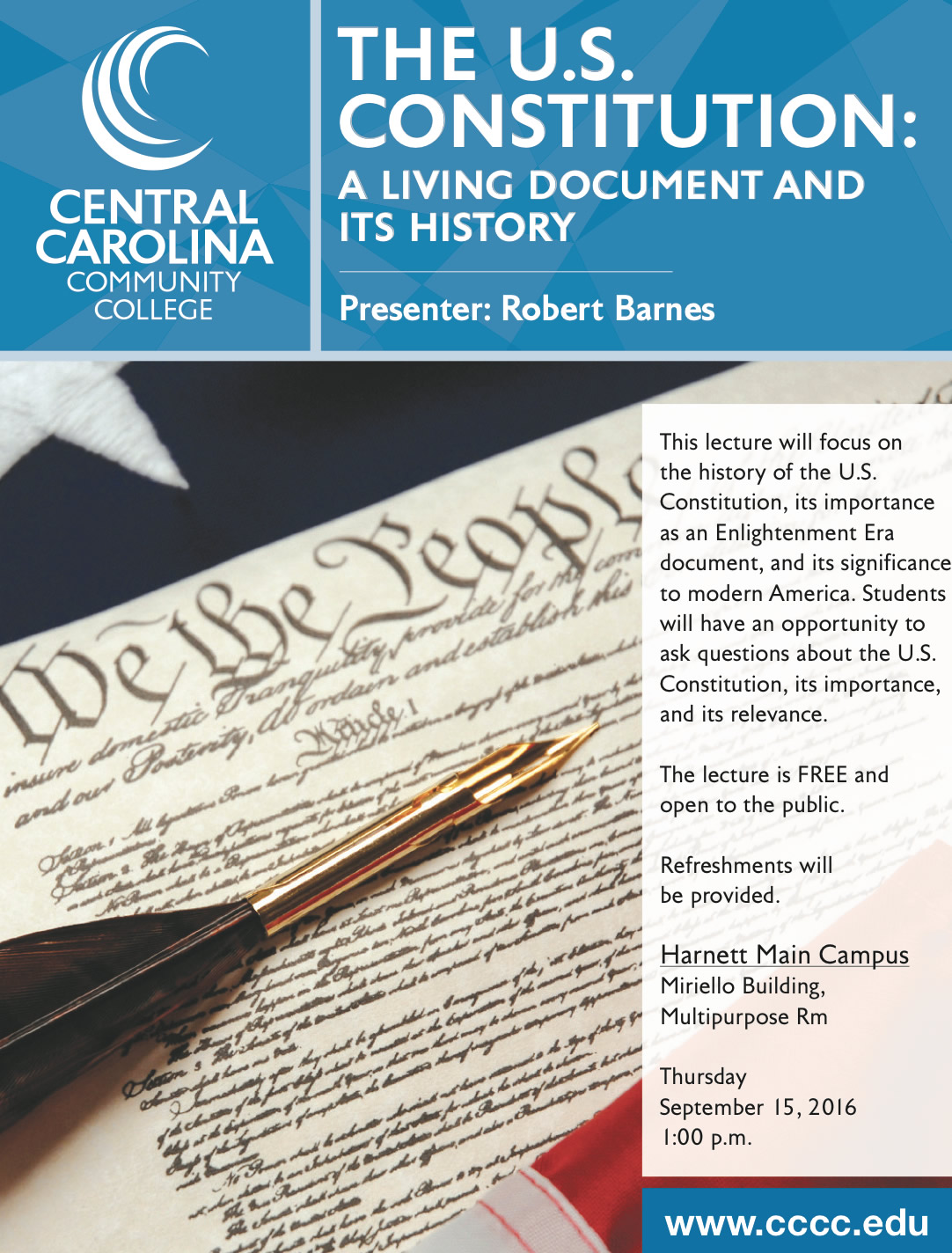 Constitution Lecture Will Take Place At Cccc Harnett Main