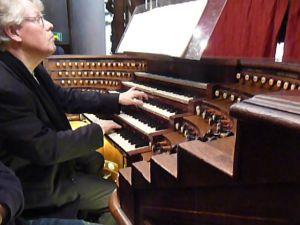 Organist playing