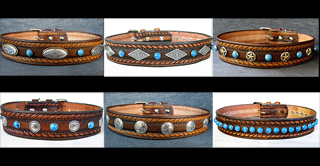 WESTERN LEATHER DOG COLLARS -- DAKOTA DAWG DESIGNER COLLECTION
