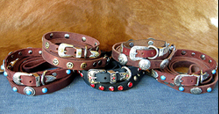 WESTERN LEATHER DOG COLLARS - SPEEDY GONZALEZ DESIGNER COLLECTION