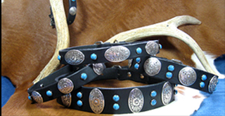 WESTERN LEATHER DOG COLLARS - BARK OF ZORRO DESIGNER COLLECTION
