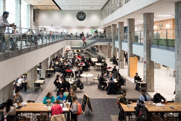 11WSU student center with people at tables