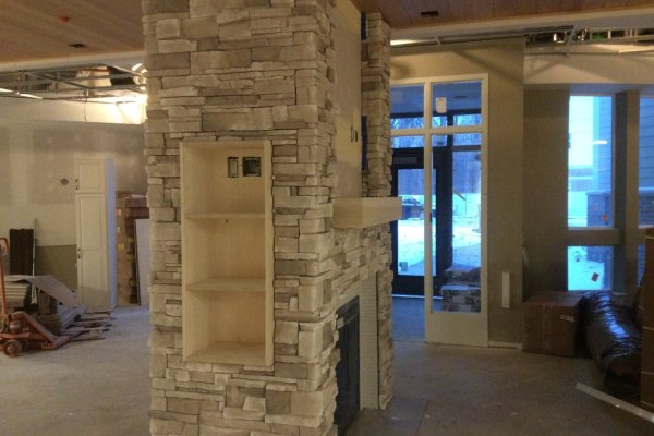 Marycrest Manor entrance construction with fireplace
