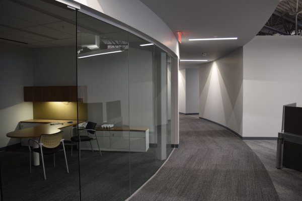 Carhartt Headquarters hallways and offices with glass door