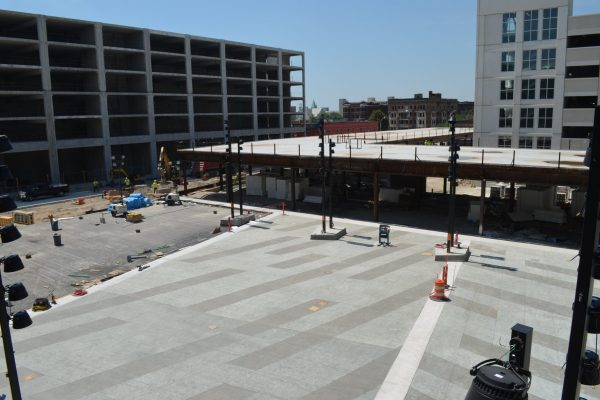 11Little Caesars Arena concrete roofing with lights