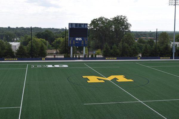 11University of Michigan sports field with timeclock