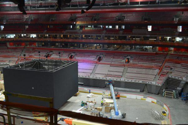 11installing bleacher seats in Little Caesars Arena