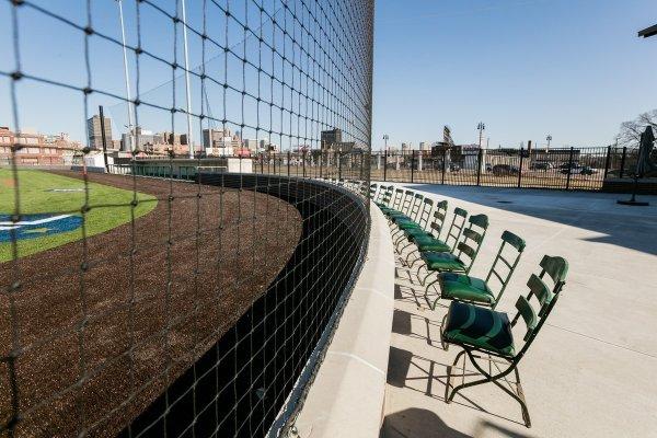 The Corner Ballpark chairs next to baseball field