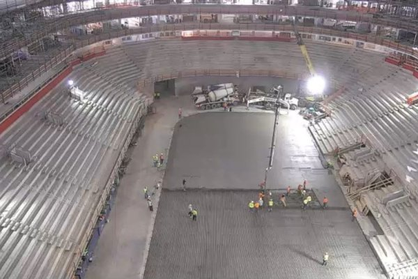 11areal view of concrete laying in Little Caesars Arena