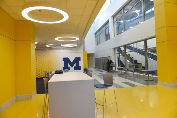 11University of Michigan Sports Complex interior hallway with tables