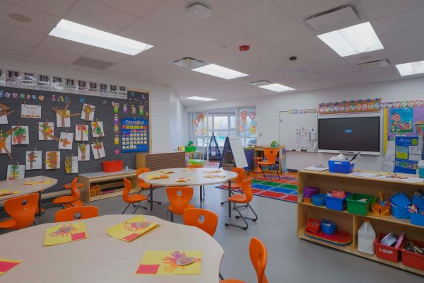 11Novi Early Childhood Education Center classroom with orange chairs
