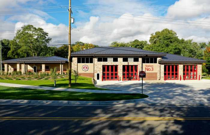 West Bloomfield Fire Station exterior with landscaping