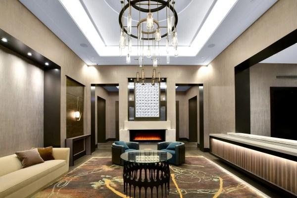 Brookside Condominiums entryway with chandelier