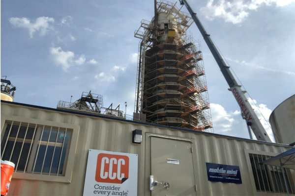 silo being built next to CCC trailer