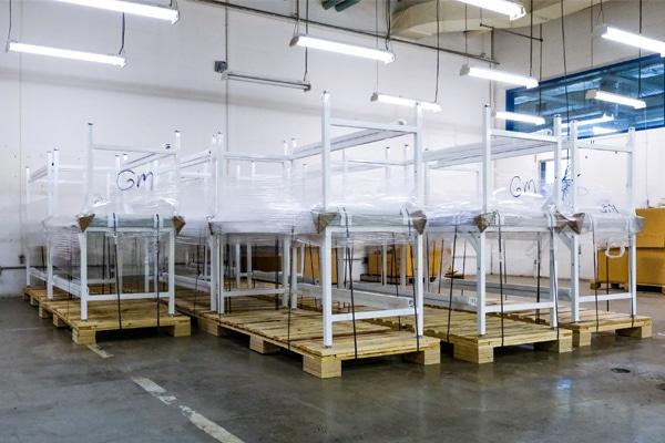 metal racks in storage