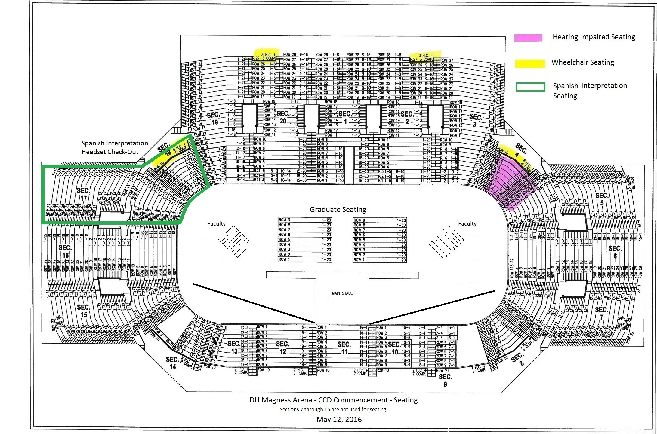 Commencement Magness Seating Diagram May