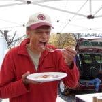 Farmer Jim Pitts Samples His Own Pancakes
