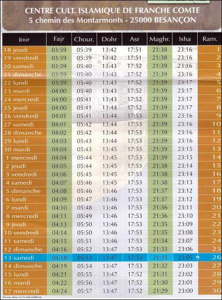 horaire priere besancon