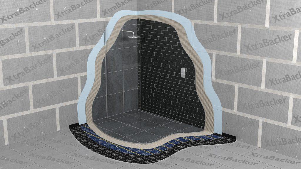 tile backer boards in a wetroom