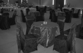 chair cover rentals alexandria va giant camping wedding covers linens dc virginia maryland black with purple sash