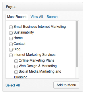 Wordpress pages menu