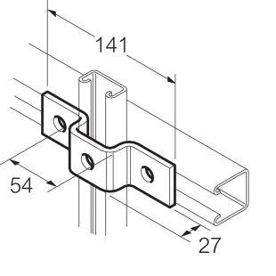 Galvanised 3 Hole U Bracket for 41mm x 21mm Channel
