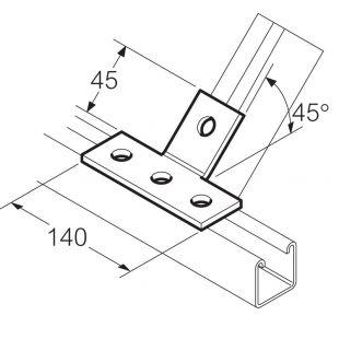 Galvanised 4 Hole 45° T Bracket Unistrut Compatible
