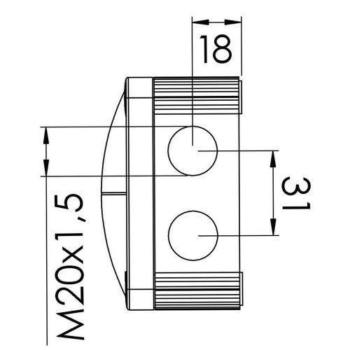 Wiska IP66 Junction Box Combi 308/5 Grey 85mm x 85mm x