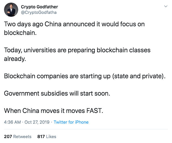 China announced it would focus on blockchain