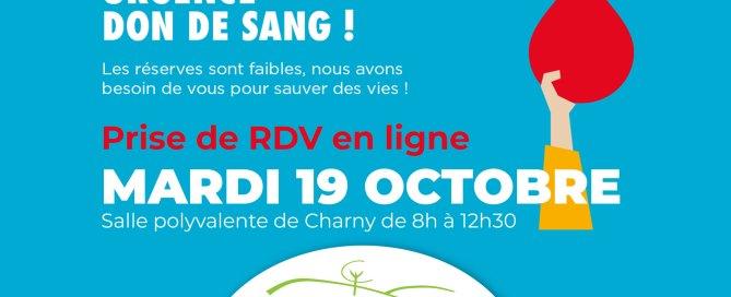 Don du sang 19 octobre Charny Orée de Puisaye