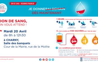 Don du sang Charny Orée de Puisaye 20 avril 2021