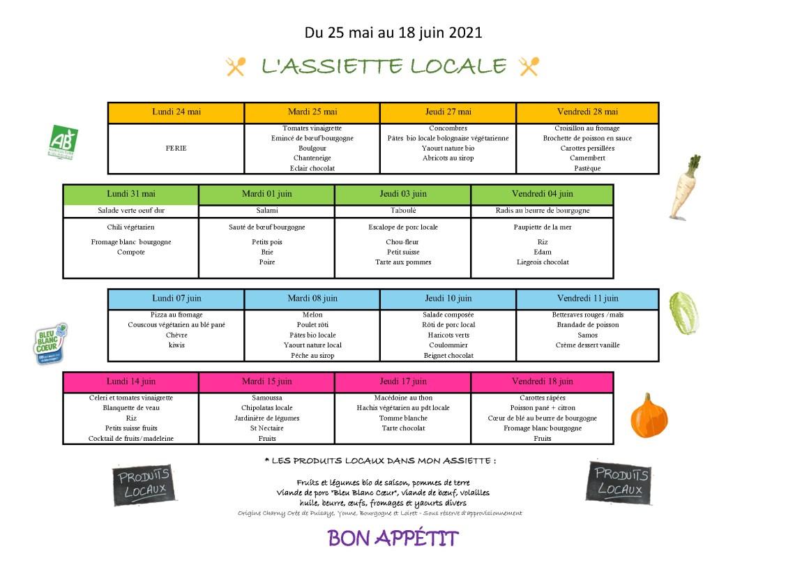 L'assiette locale - Menu scolaire mai au 18 juin 2021 à Charny Orée de Puisaye