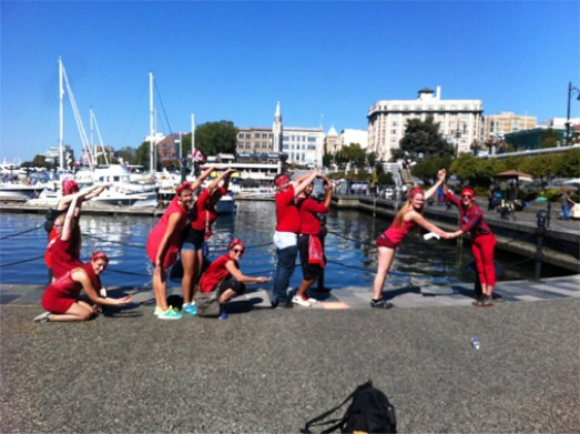 Students take part in a scavenger hunt around Victoria.