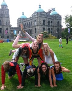 CCPA students in front of the BC Parliament Buildings for the scavenger hunt.