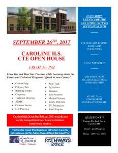 SEPTEBER 26th CTE Open House 3.0