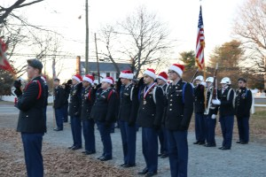 JROTC getting ready to line up for the Bowling Green Christmas parade