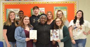 yearbook staff with VHSL First class rating