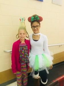 two students dressed like characters