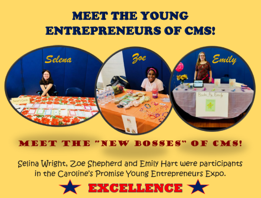 three students attending young entrepreneurs expo