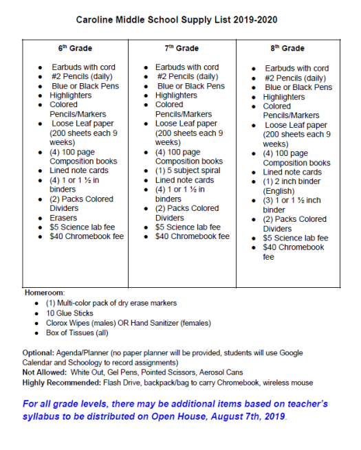 CMS School Supply List 2019-2020