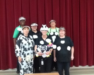 Cafeteria Staff dress in cow costumes