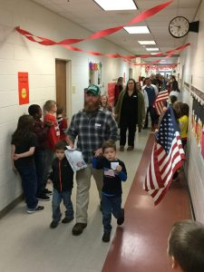 Student and Veteran's in a school parade