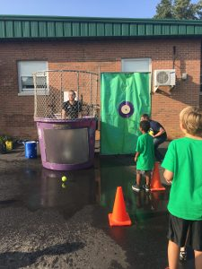Mr. Keneagy in the dunk tank