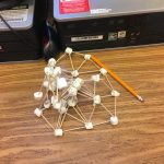 Pyramid made of marshmallows and toothpicks