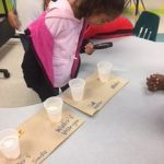 Student viewing candy corn in solution cups with a magnifying glass