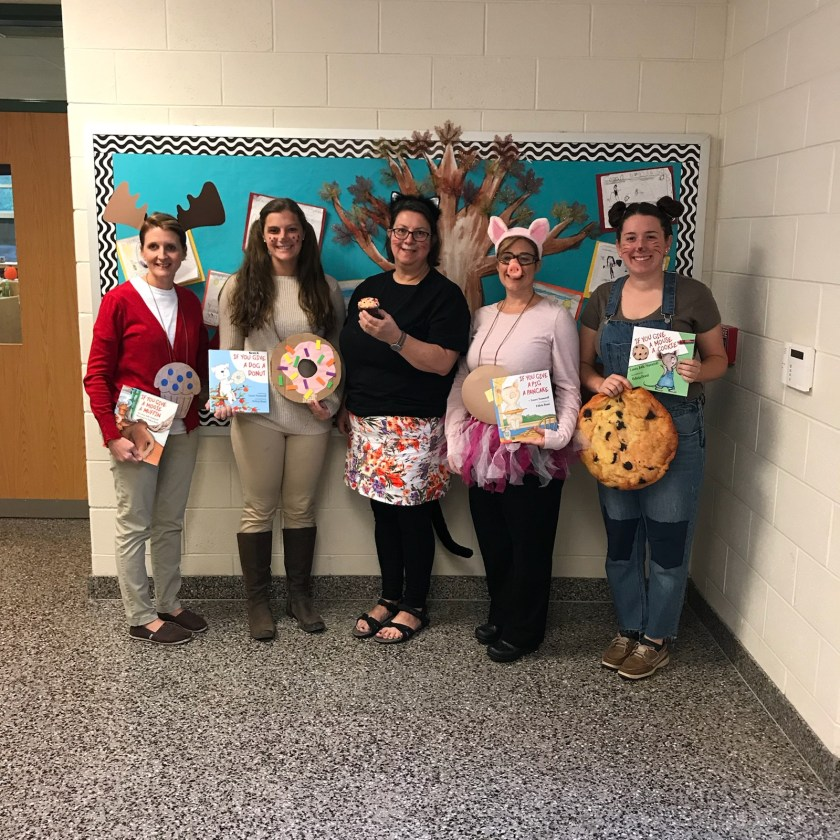 Teachers dressed up as book characters