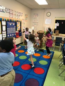 First grade students dancing and counting