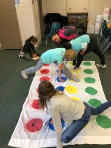 Students on twister board