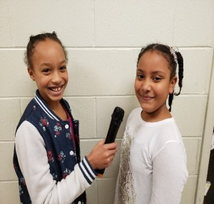 Students with microphone